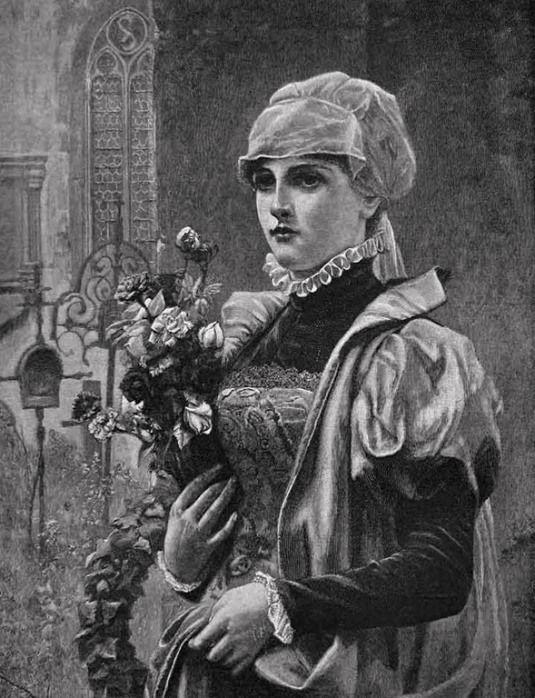 Seifert, Conrad Alfred Kiesel (b,1846)- Woman Standing w Flowers, Out