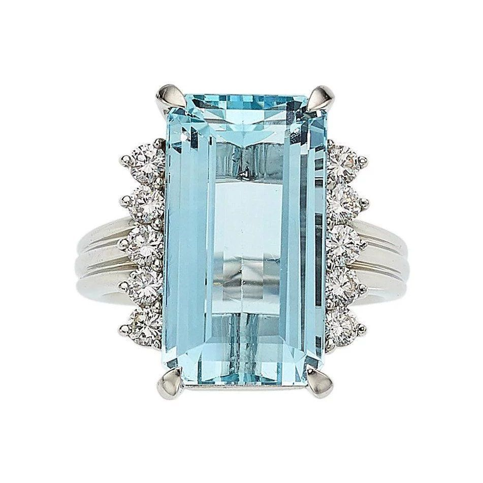 Stunning Vintage Estate Platinum 10 Ct Aquamarine Vs Diamond Ring Vintage Sapphire Ring Vs Diamond Jewelry