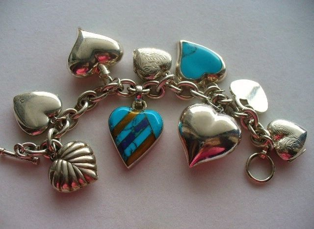 Huge Sterling Silver Charm Bracelet Puffy Hearts With Turquoise