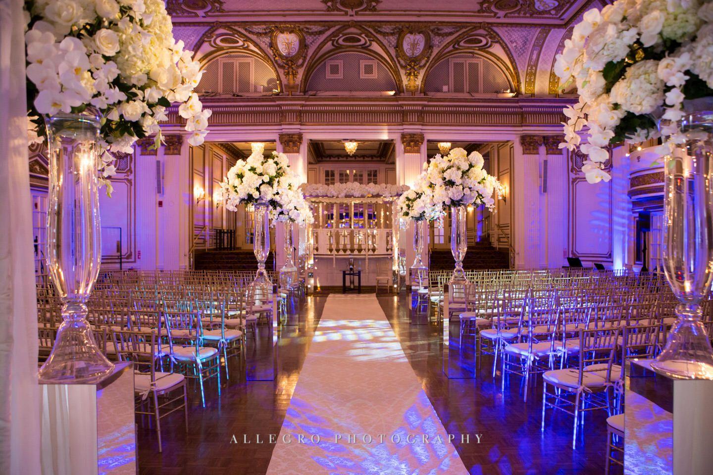 Tall Fl Cases Line Aisle Fairmont Copley Plaza Wedding Allegro Photography Purple Pink Pretty