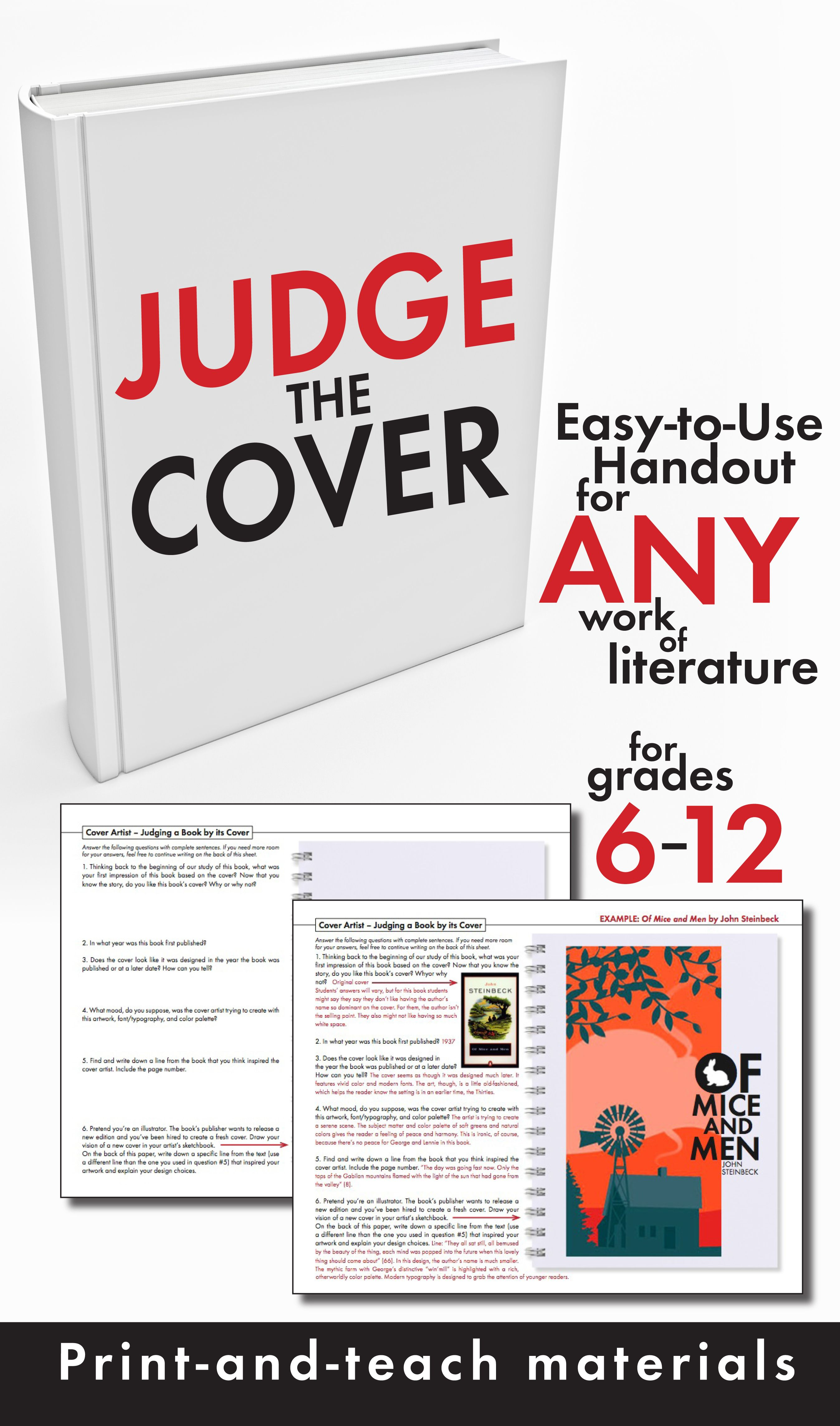 Judge A Book By Its Cover Fun Writing Activity Use With Any Novel Grades 6 12