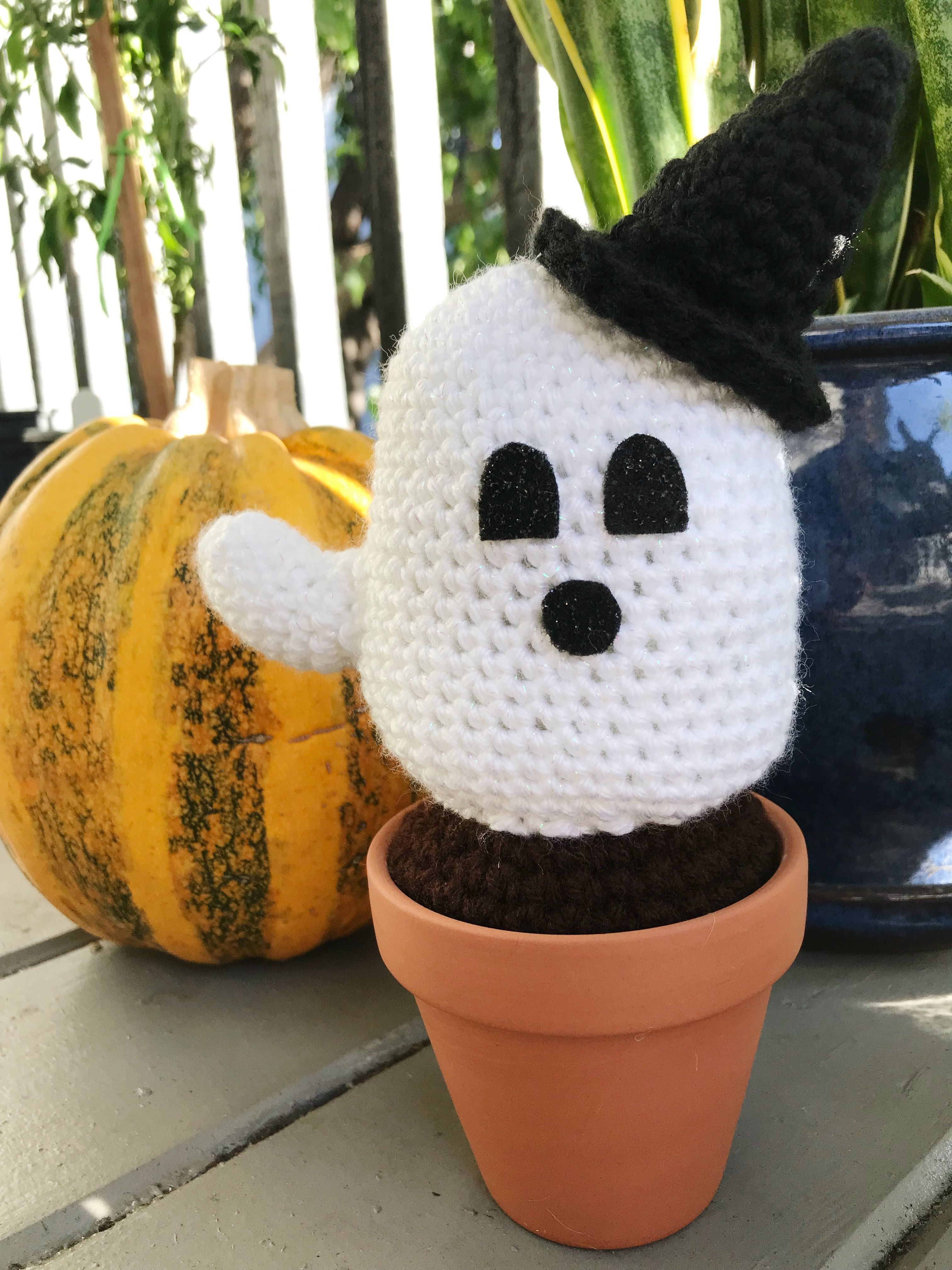 NotSoSpooky Crochet Ghost Succulent Ghost plant