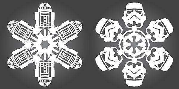 r2d2 snowflake template  DIY Star Wars Snowflakes | Star wars snowflakes, Star wars ...