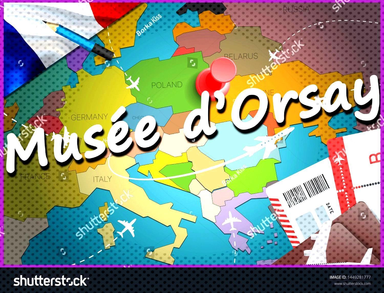 Mus¨¦e d¡¯Orsay city travel and tourism destination concept. France flag and Mus¨¦e d¡¯Orsa