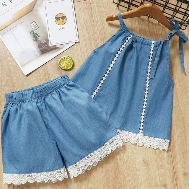 Girls Clothing Sets New Style Summer Children Clothing Cute Plaid Lace + White Bo …