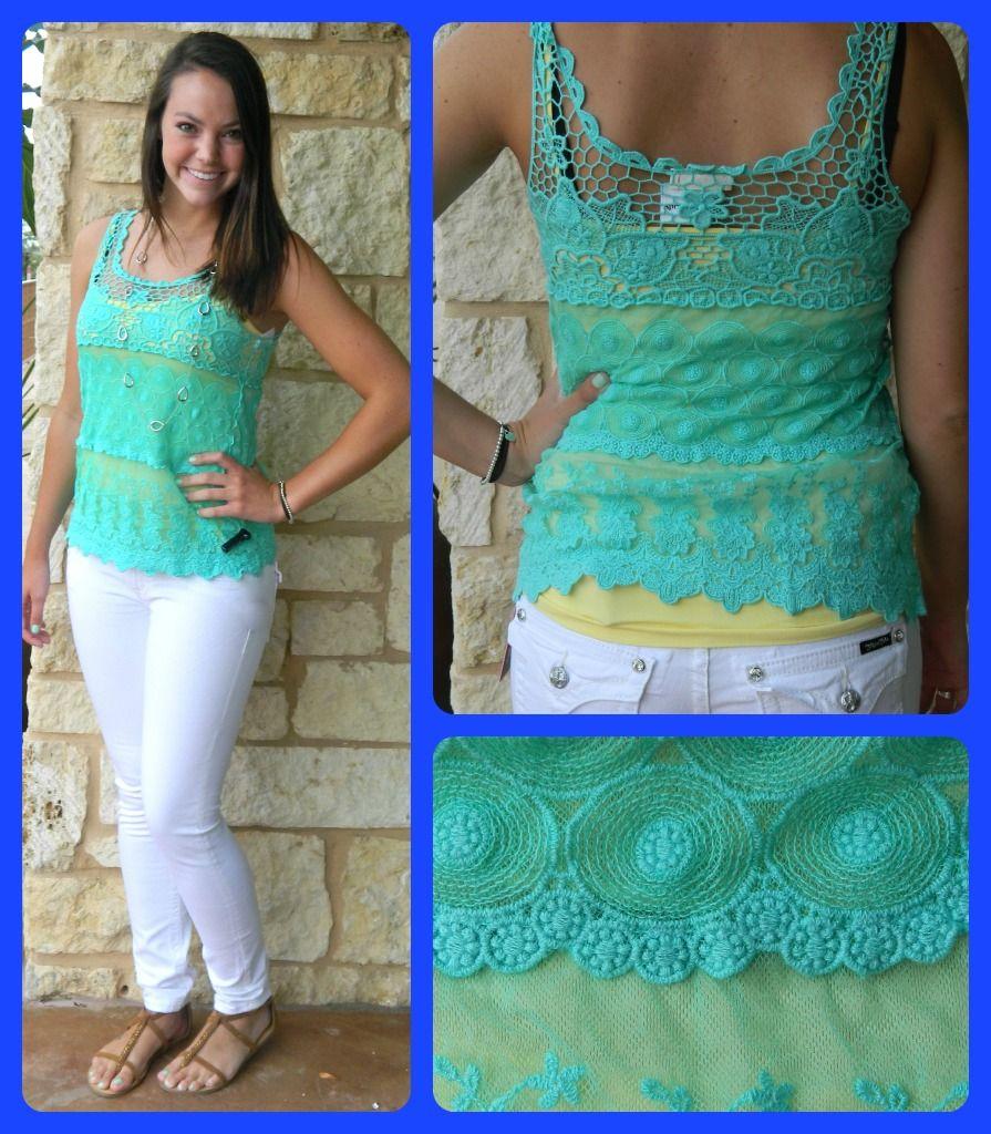 Mint Crochet Tank Top $39