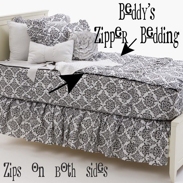 Black and white zipper bedding! Zip your bed!