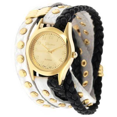 Geneva Platinum Women's Quartz Stud Accented Wrap Strap Watch