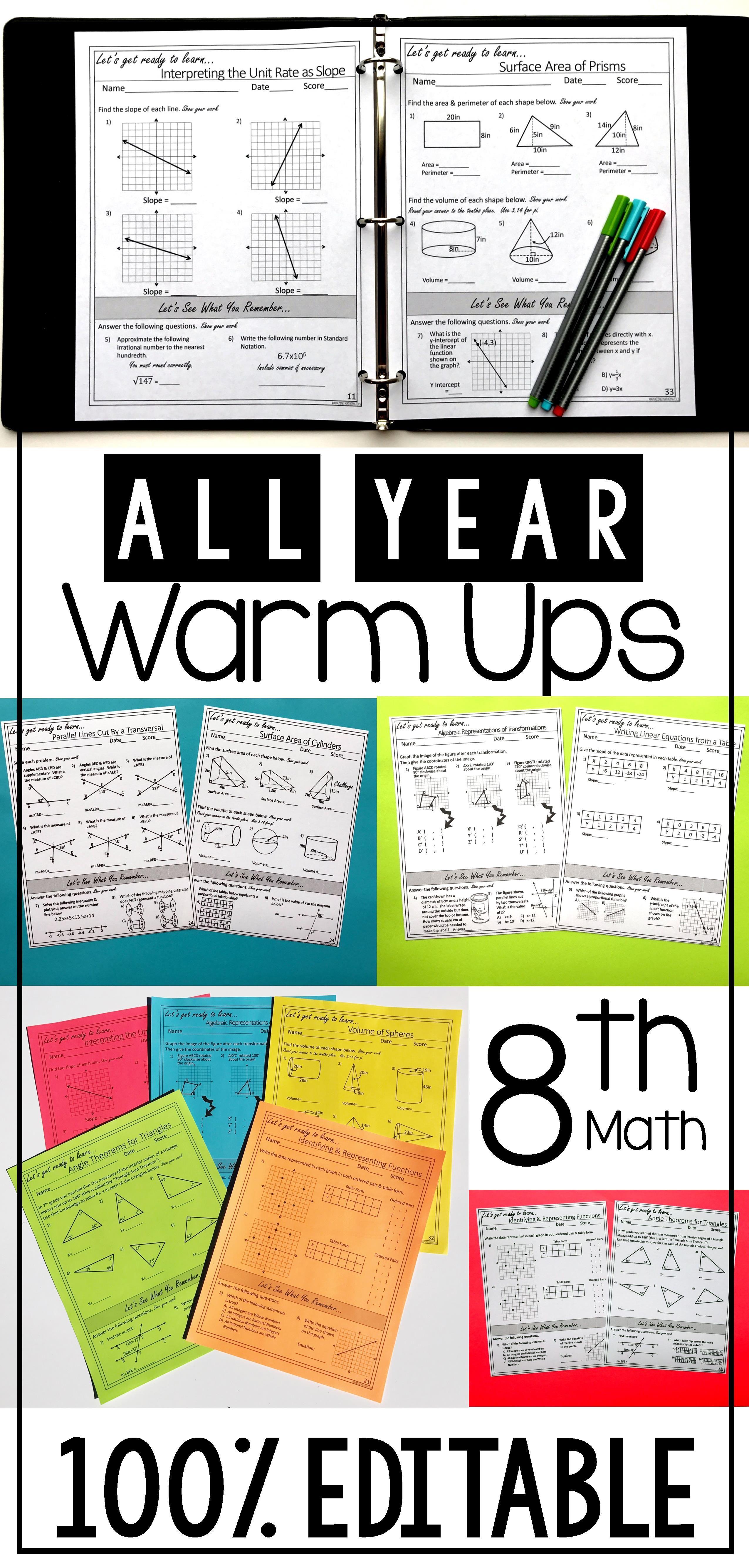 8th Grade Math Warm Ups