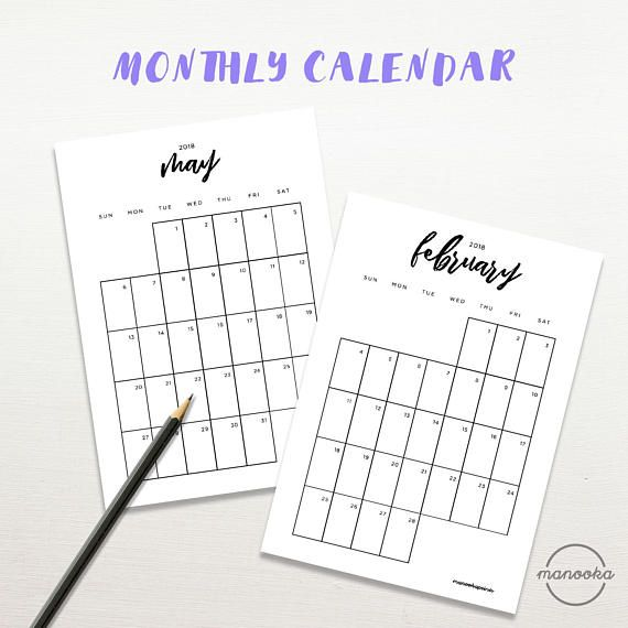 Typography Printable Calendar : Calendar typography black and white monthly