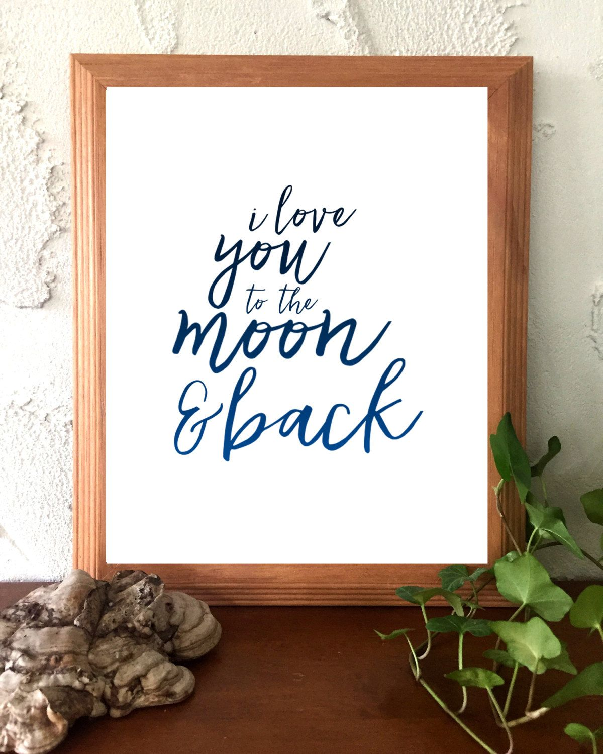 Printable Instant Download Navy Blue and White I Love You To The Moon and Back Love Inspirational Quote by BoodaDesigns on Etsy