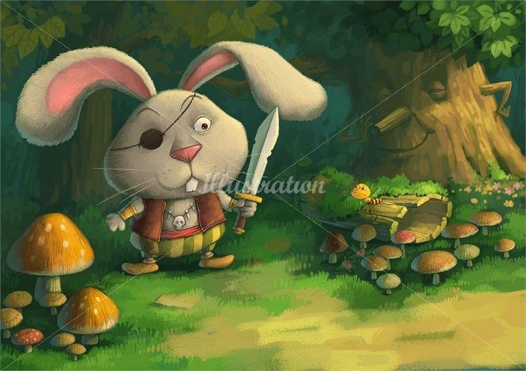 Cartoon illustration -  rabbit holding knife