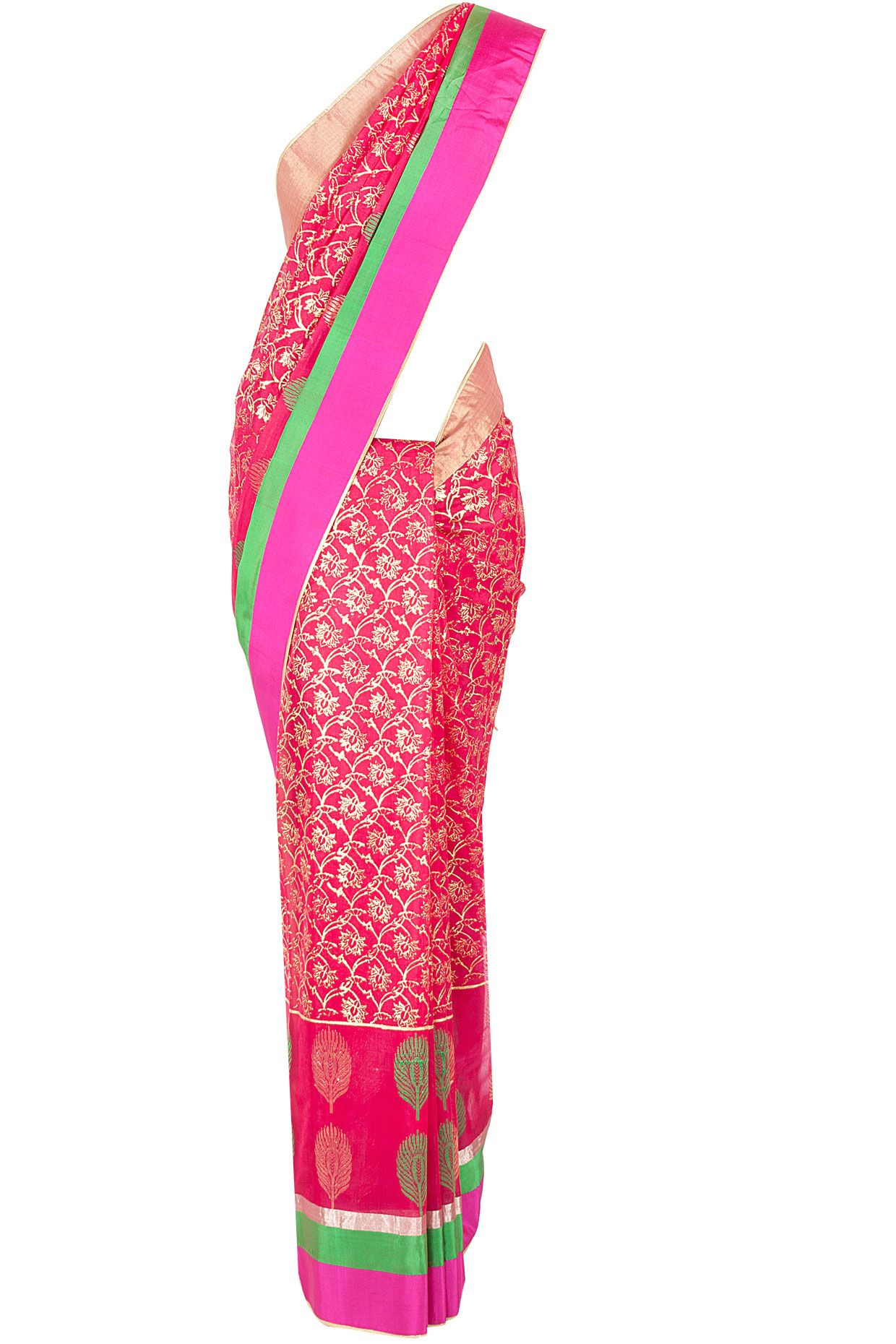Rohit Bal Fuschia floral and leaf sari available only at Pernia's Pop-Up Shop.