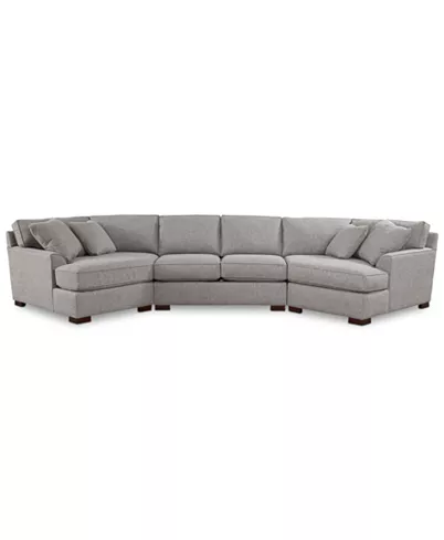 Furniture Carena 3 Pc Fabric Sectional Sofa With Double Cuddler Chaise And Armless Loveseat Created Fo Fabric Sectional Sofas Armless Loveseat Apartment Sofa