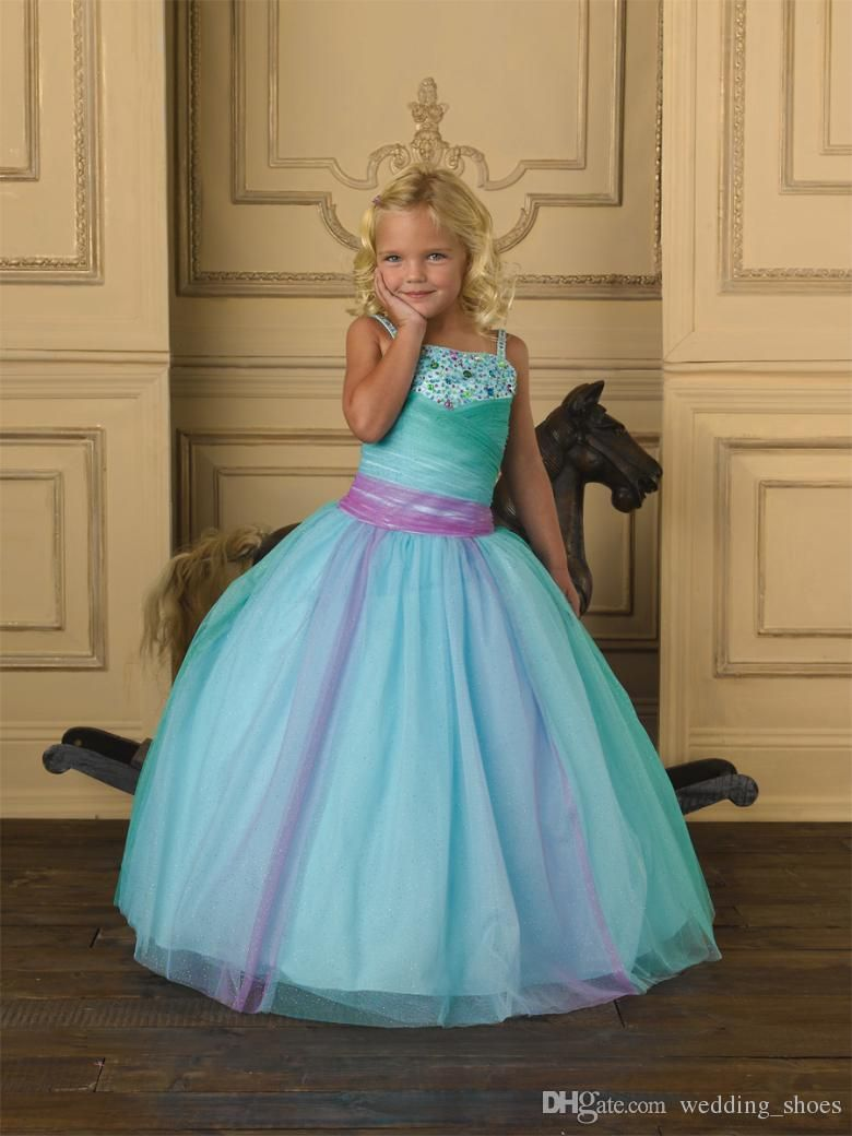 Sequins Spaghetti Strap Sky Blue A Line Flower Girls Pageant Dress ...