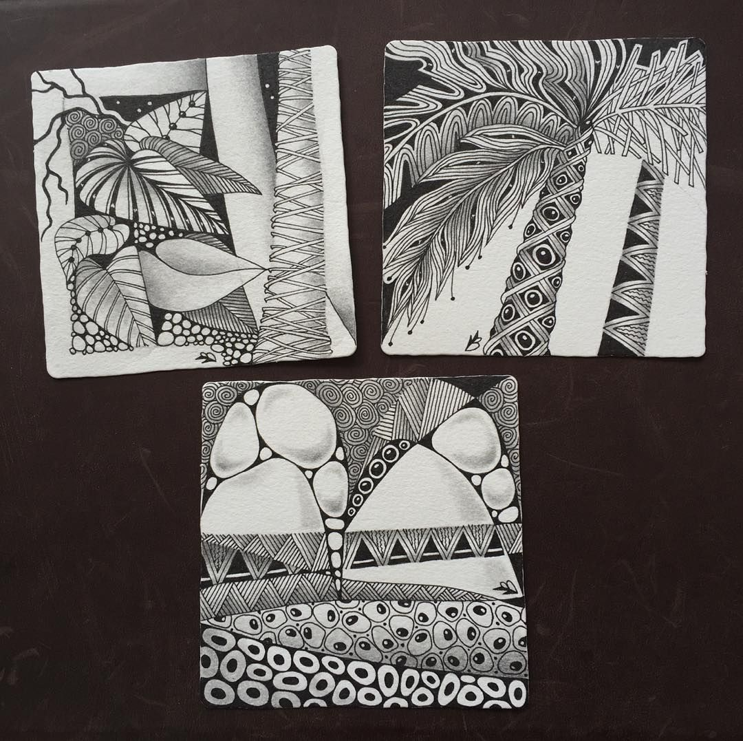 Three Zentangle tiles I've done here on vacation - two inspired by tropical vegetation.