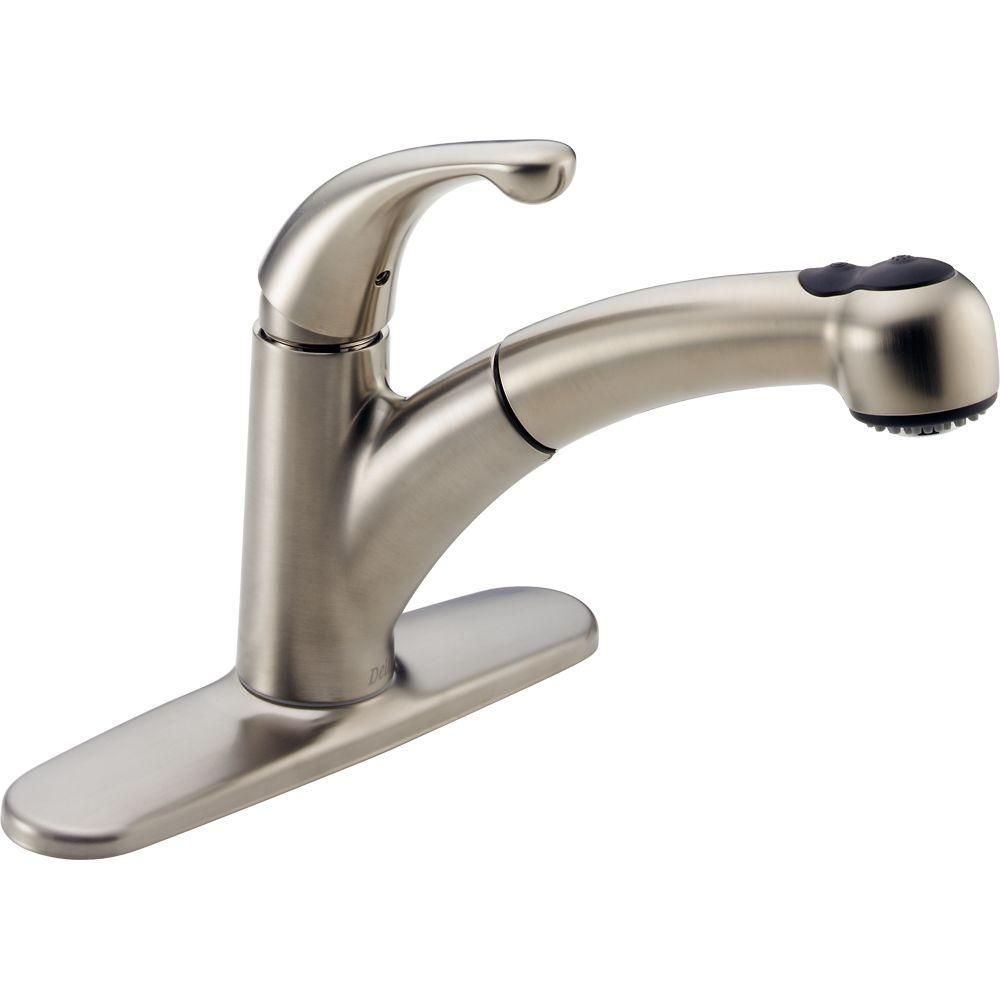 Delta Palo Single Handle Pull Out Sprayer Kitchen Faucet In