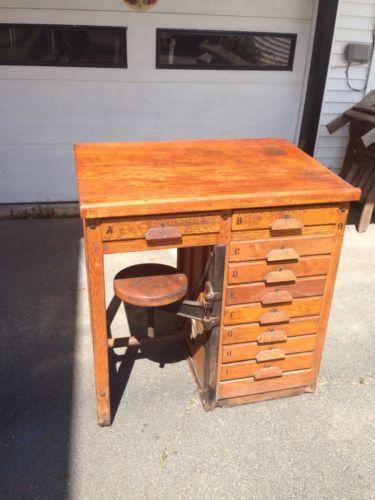 Awesome Vintage Oak Swing Stool Drafting Table John E Sjostrom Chelsea NYC High  School