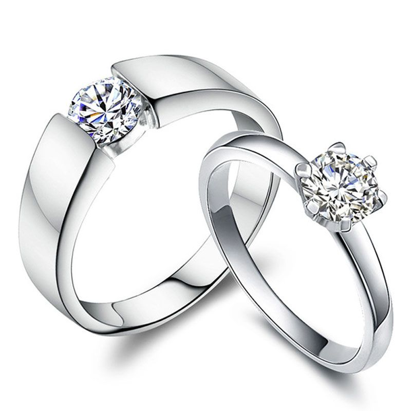 Cubic Zirconia Diamond Couples Rings Set For Women And Men