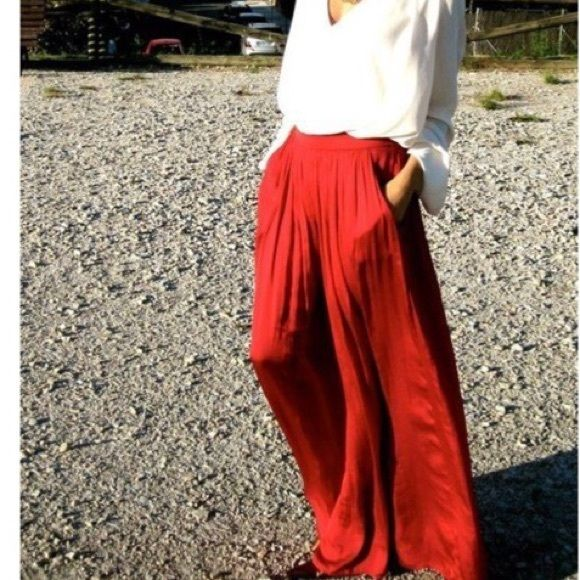 c8af2ffbbc Zara Skirts - Zara red maxi skirt with pockets | outfits | Skirts ...