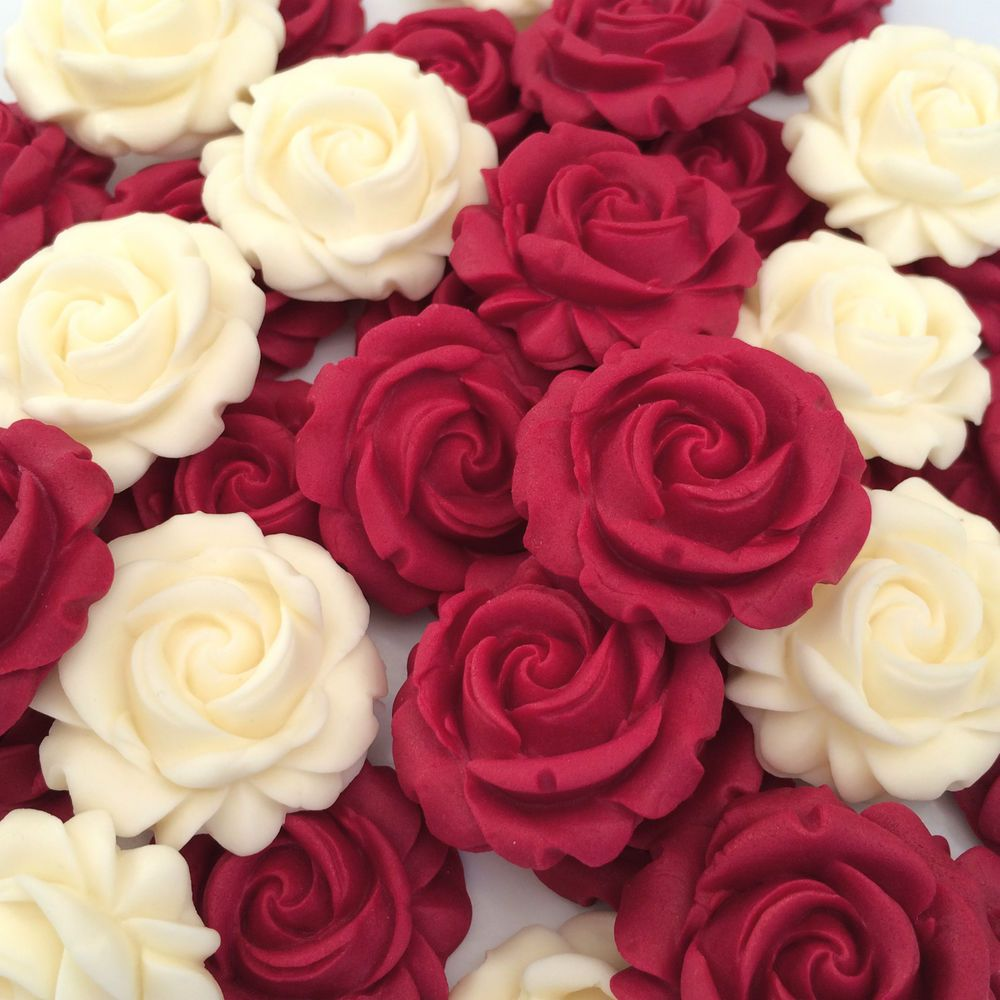 12 RED ROSES edible sugar flowers cup cake decorations toppers wedding