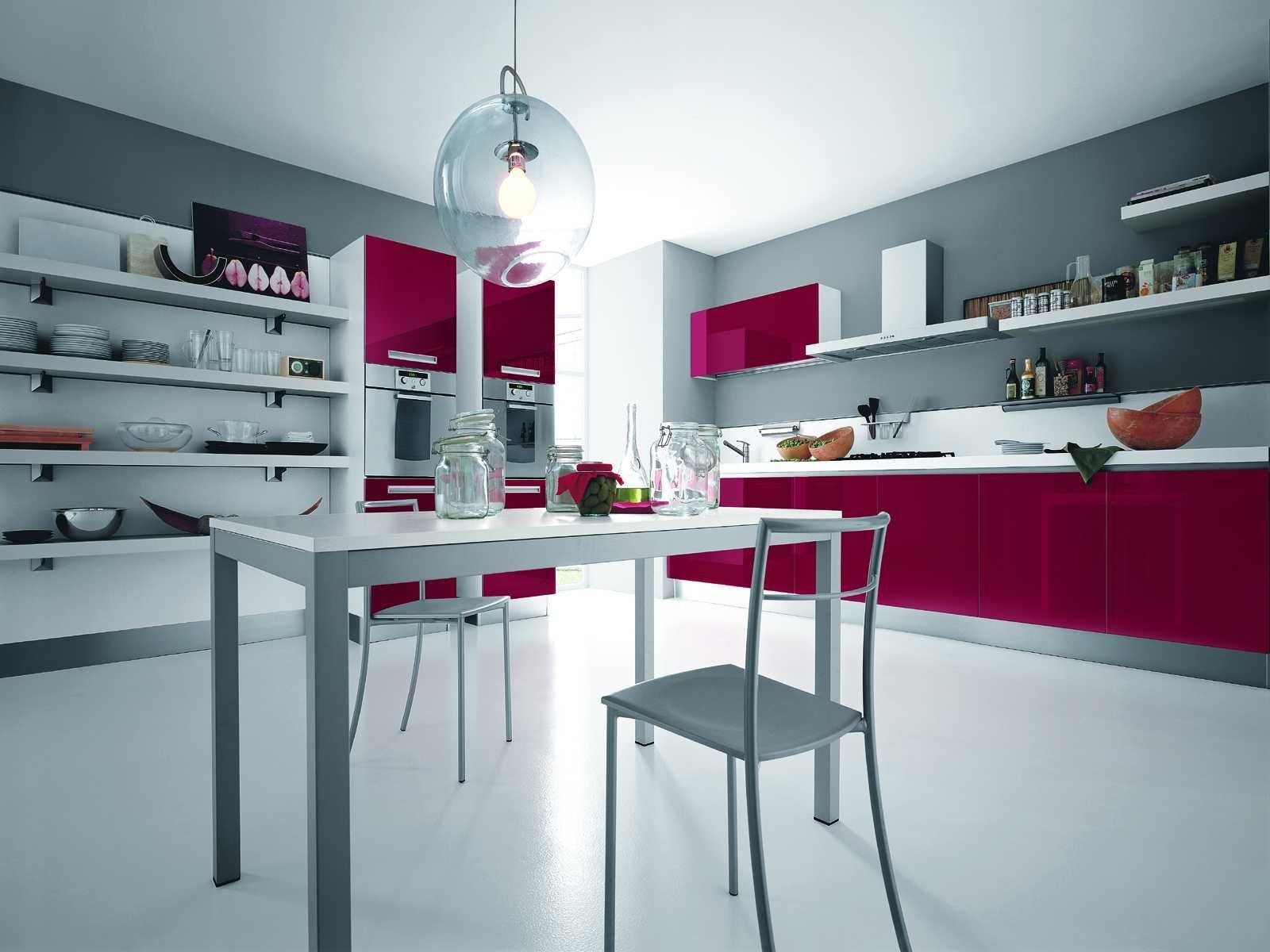 elegant modern pink kitchen design silver modern kitchen with touch of bright pink idea in on kitchen decor pink id=29585