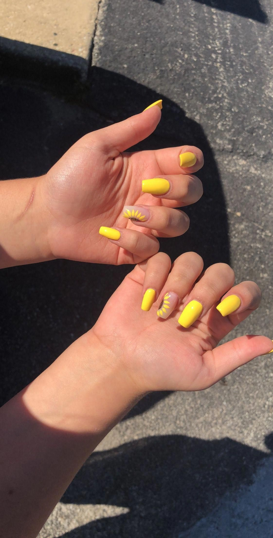Yellow Coffin Long Acrylic Nails Sunflower Design Summer Nails Acrylicnailsalmond Acrylicnailsstiletto In 2020 Acrylic Nails Yellow Sunflower Nails Yellow Nails