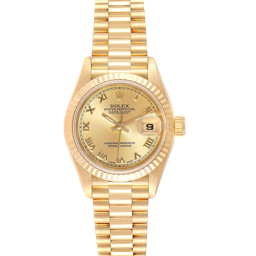 Rolex President Datejust 18K Yellow Gold 26mm Ladies Watch 69178 #rolexwatches
