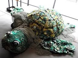 Image result for sea turtle sculptures made from garbage