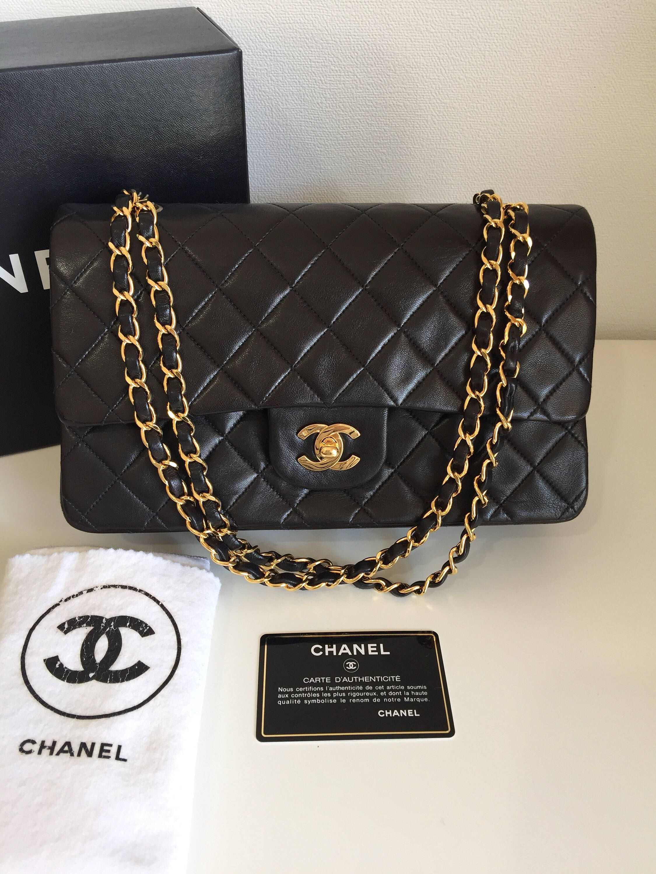 12d9729bfbc557 Authentic Vintage Chanel Quilted double flap medium black   Chanel bag    Chanel, Vintage chanel, Chanel box