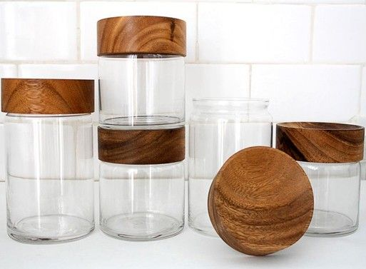 Wood Glass Canisters Wood Glass Glass Canisters Home Decor Accessories