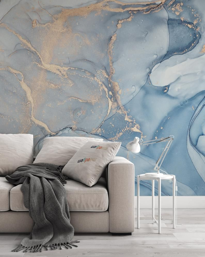 Marble Texture Abstract Blue Golden Look Acrylic Paints Etsy In 2020 Blue Marble Wallpaper Blue Wallpaper Bedroom Painting Wallpaper
