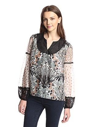Anna Sui Women's Wild Rose Garden Top (Black)