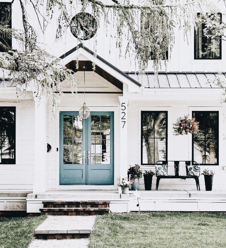 THE COLOR. White Paint, Black Trim, Blue Door
