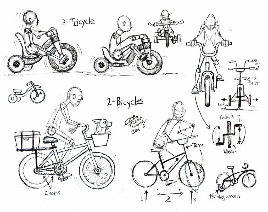 Draw People On Bicycles And Tricycles By Diana Huang On Deviantart Como Dibujar Personas Bocetos De Personas Dibujo Fácil