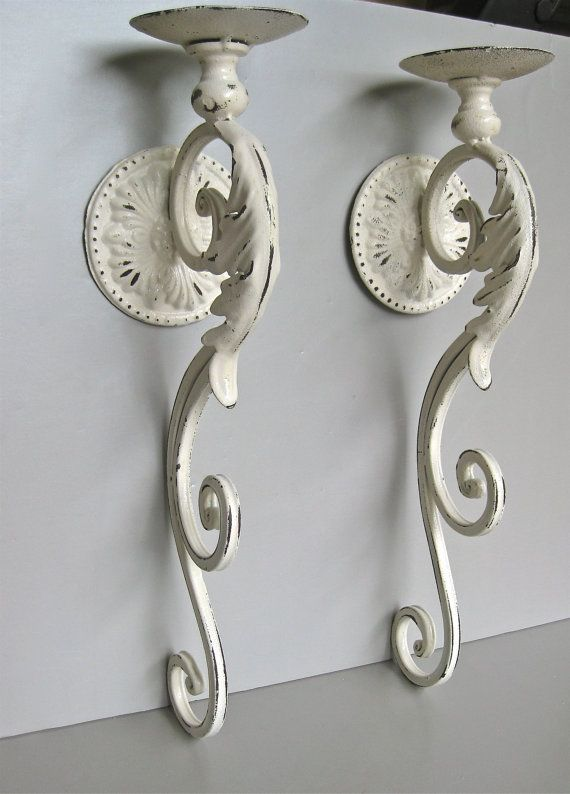 Large Candle Sconces Ivory Candle Holder Shabby Wall Sconce Large Candle Sconces Distressed Decor Ivory Candles