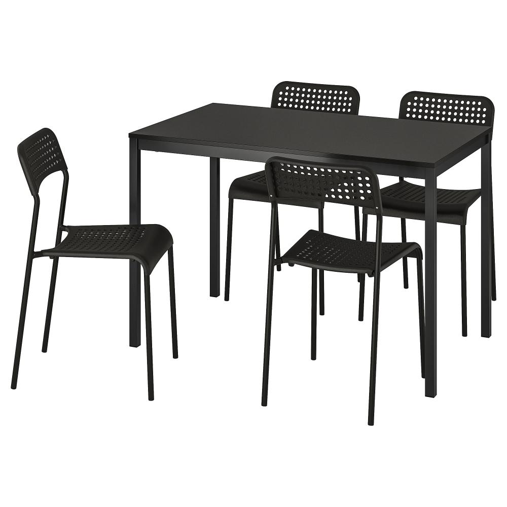 IKEA TARENDO / ADDE Black Table and 4 chairs Table, Ikea