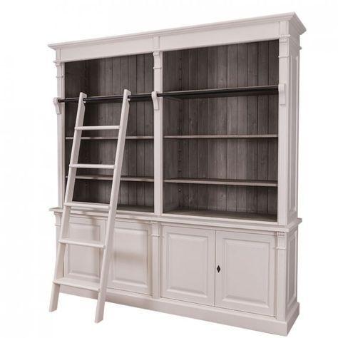 Bücherregal mit Leiter, Wohnzimmer, Landhausstil, Landhausmöbel
