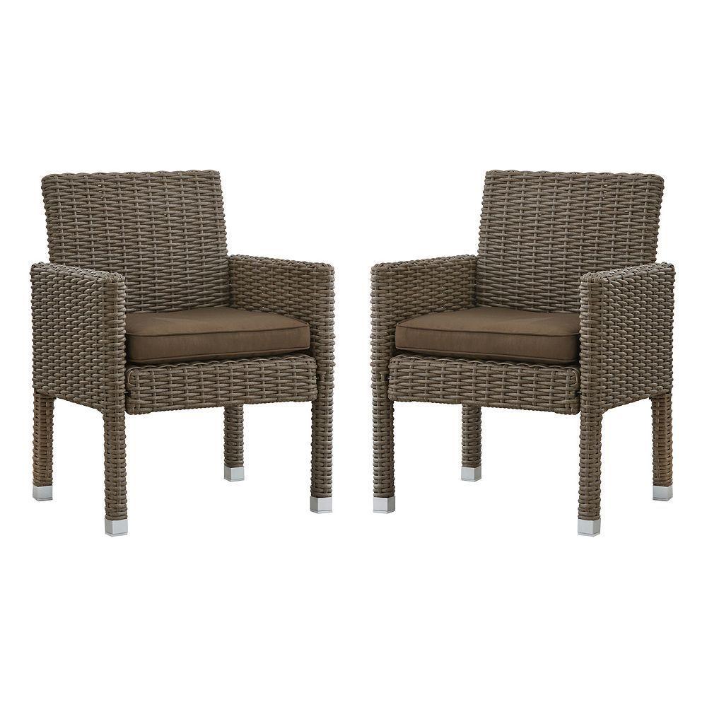 HomeVance Ravinia Mocha Wicker Dining Arm Chair piece Set Grey
