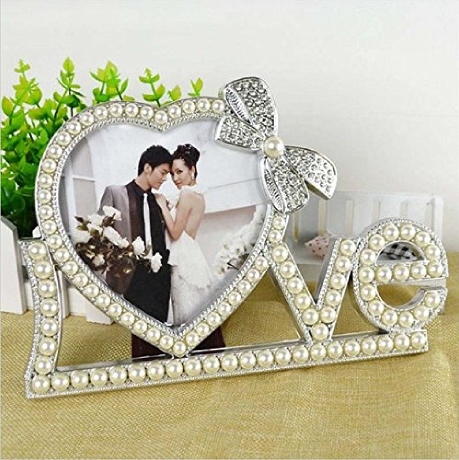 JCare New Fashion Crystal Pearl Love Home Decor Photo Frame Picture Frame ABS Vintage Photo Frame Wedding Home Decoration