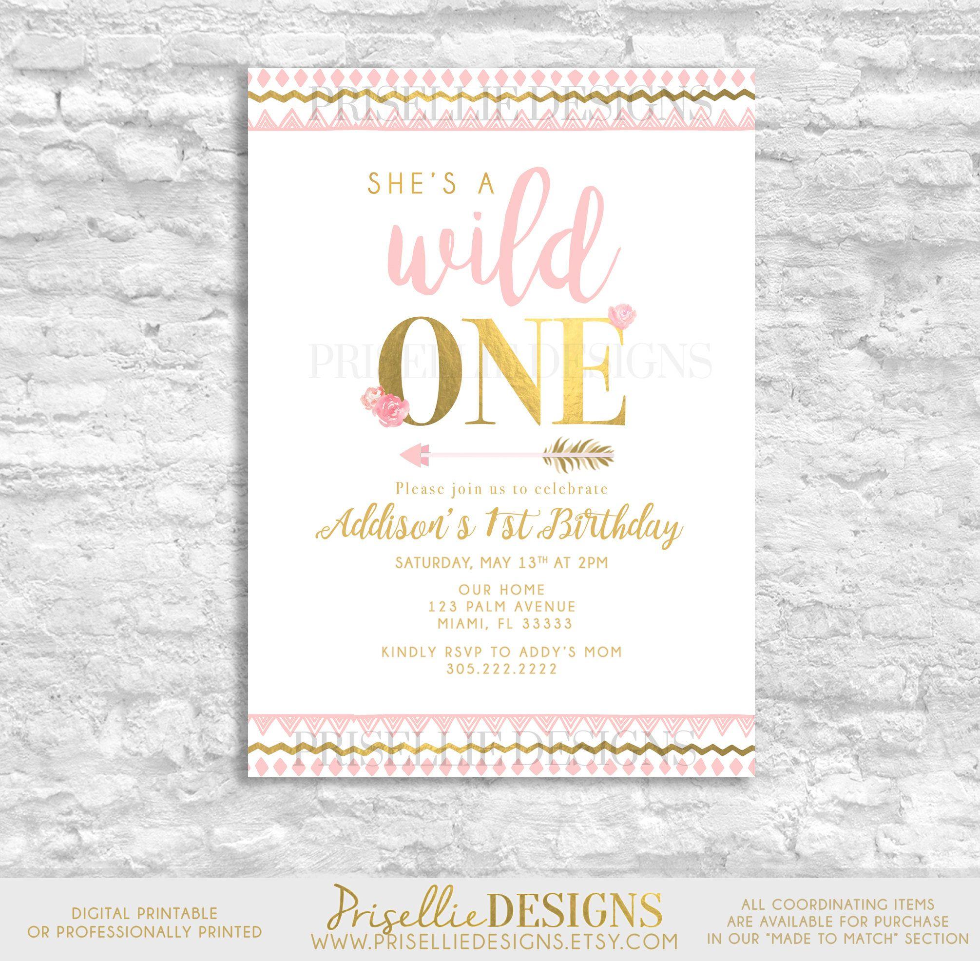 A Wild One Birthday Invitation, First Birthday Invitation, Pink and ...