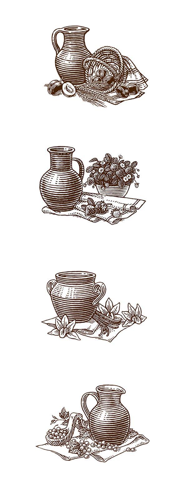 Illustrations for yoghurts