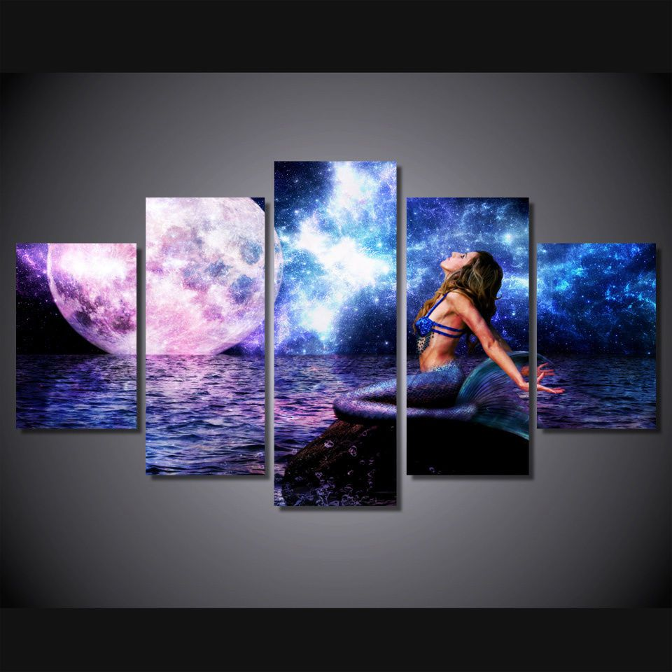 Framed picture mermaid sea moon night horizon fantasy girl wall art