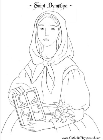 Saint Dymphna Coloring Page May 15th St Dymphna Saint Coloring Coloring Pages