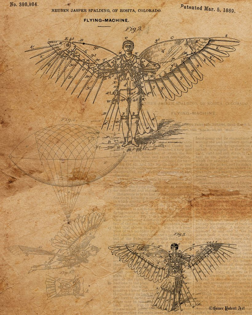 Vintage Patent Drawing Of Flying Machine Steampunk Icarus