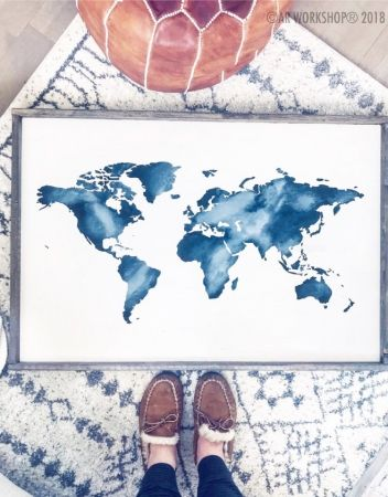 World map silhouette oversized framed sign 2638 watercolor world map silhouette oversized framed sign 2638 watercolor wanderlust gumiabroncs Gallery