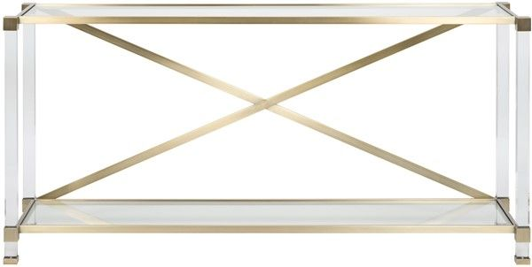 Lucite And Satin Brass Console Table Dimensions Inches Overall W 66 D 17 H 32 Brass Console Table Furniture Console Table