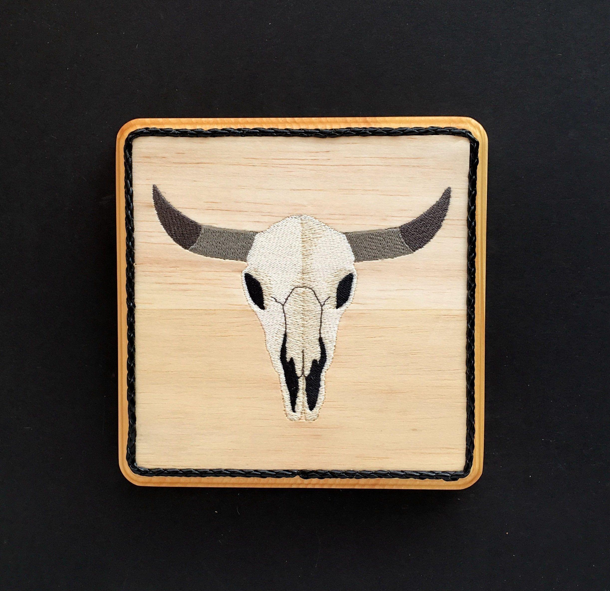 Western wall decor steer skull balsa wood embroidery art