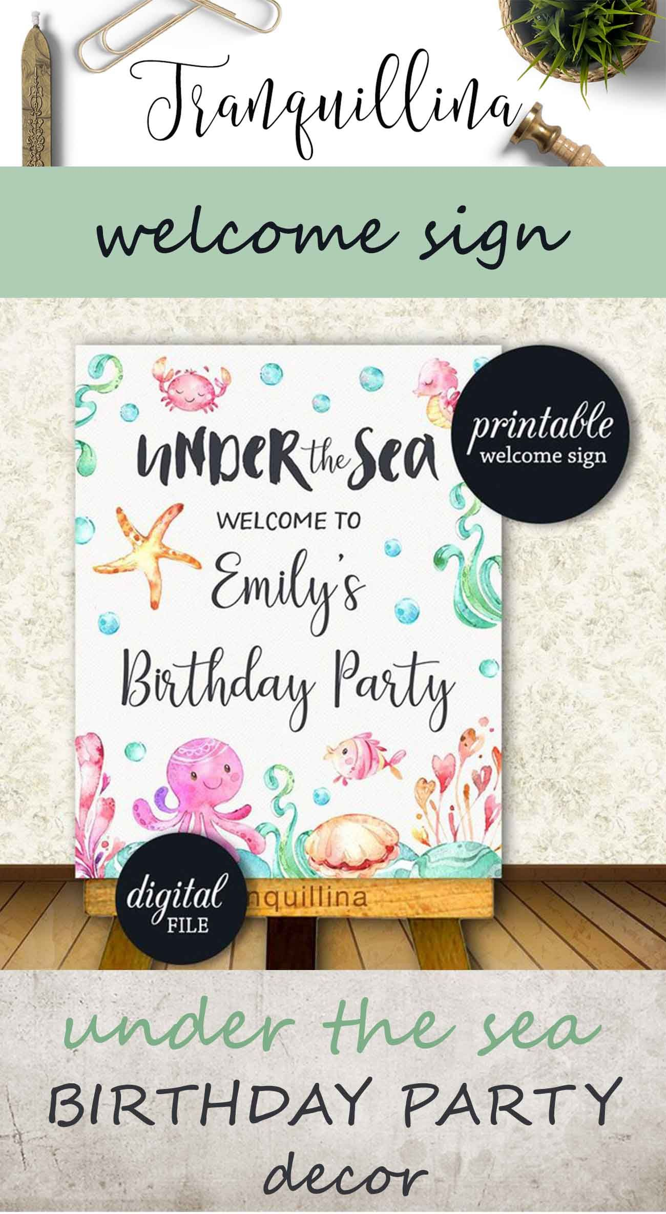 Birthday Welcome Sign Printable Under The Sea Party Sign Baby Etsy Baby Girl Shower Themes Boy Baby Shower Themes Baby Shower Signs