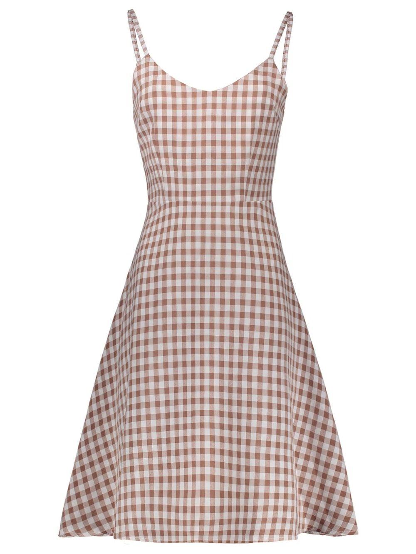 Sleeveless Plaid A Line Slip Dress